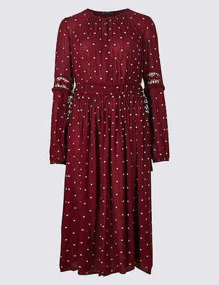Marks and Spencer Spotted Long Sleeve Swing Midi Dress