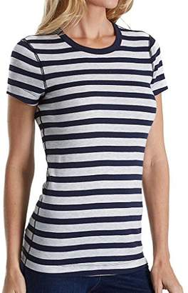 Three Dots Women's Stripe Short Sleeve Crewneck