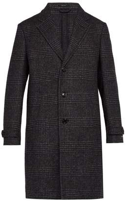 Ermenegildo Zegna Single Breasted Alpaca And Wool Blend Overcoat - Mens - Blue