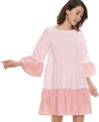 K Lab k/lab Tiered Bell Sleeve Pinstripe Dress