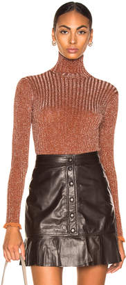 Chloé Ribbed Turtleneck Sweater in Crimson Brown | FWRD