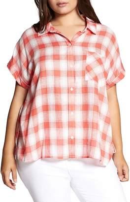 Sanctuary Mod Check Boyfriend Shirt (Plus Size)