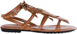 Tod's Logo Fringe Flat Sandals