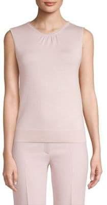 Agnona Silk and Wool Jersey Gathered Sleeveless Top