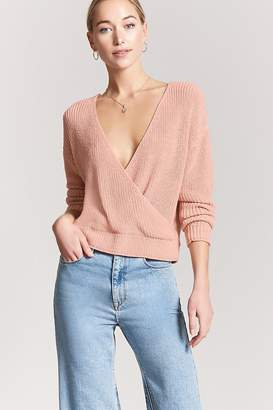 Forever 21 Ribbed Sweater-Knit Surplice Top