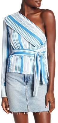 MinkPink One-Shoulder Stripe Blouse