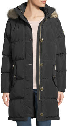 MICHAEL Michael Kors Button-Front Quilted Down-Fill Coat with Detachable Faux-Fur Hood