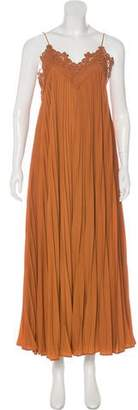 Self-Portrait Embroidered Pleated Dress