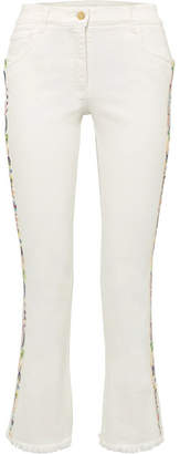 Etro (エトロ) - Etro - Embroidered High-rise Flared Jeans - White