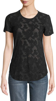 Black Tape Sheer Lace Short-Sleeve Tee