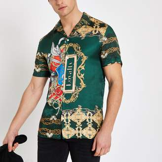 River Island Mens Green baroque print short sleeve shirt