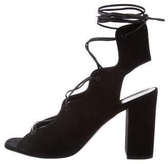 Saint Laurent Lace-Up Suede Sandals