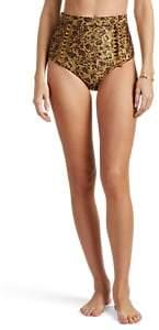 Zimmermann Women's Juniper Floral High-Waist Bikini Bottom - Gold