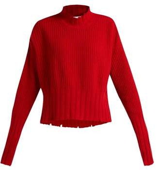 MSGM Distressed Wool Blend Sweater - Womens - Red