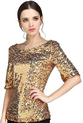 3361ed6bf5 JEYKAY Glistening Sequin Cocktail Club Party Top Shimmer Glam Glitter Plus  Size T-Shirt (