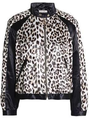 Paneled Leopard-Print Satin Jacket