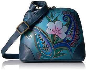 Anuschka Anna by Women's Genuine Leather Small Zip-Around Handbag   Multi Compartment Organizer  Fall Bouquet