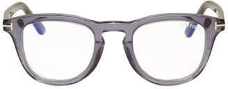 Tom Ford Grey Blue Block Round Glasses