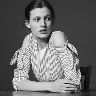 Sandro Striped top with bare shoulders