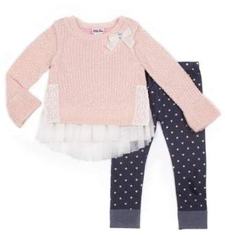 Little Lass Lurex and Tulle Sweater & Knit Denim Legging, 2-Piece Outfit Set (Little Girls)