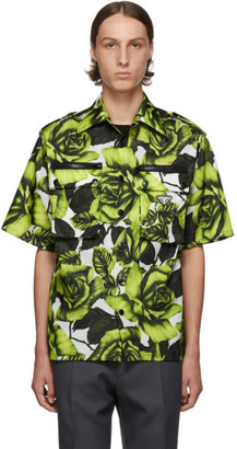 Prada Green and White Big Rose Print Bowling Shirt