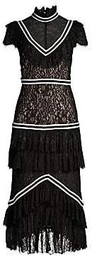Alice + Olivia Women's Annetta Mixed Media Tiered Ruffle Illusion Dress - Size 0