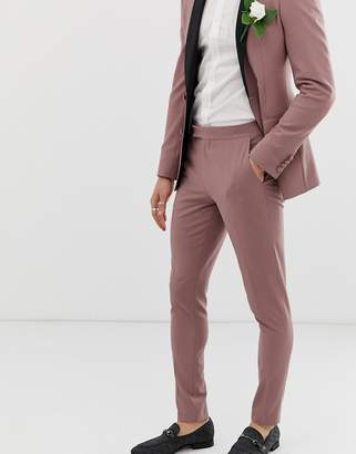 Asos Design DESIGN wedding super skinny tuxedo suit pants in mauve