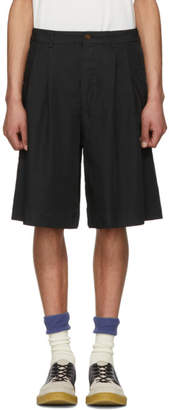 Comme des Garcons Black Twill Pleated Shorts