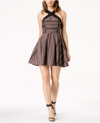 BCBGMAXAZRIA Crisscross Jacquard Fit & Flare Dress