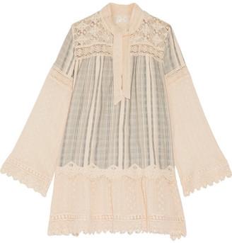 Anna Sui - Lace-paneled Striped Cotton-gauze Mini Dress - Cream $595 thestylecure.com