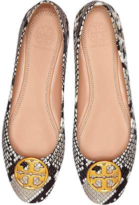 Tory Burch Warm Roccia Snake Printed Leather Chelsea Ballet Flats