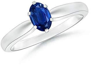 Angara.com 6 Prong Tapered Shank Oval Solitaire Sapphire Ring in Silver (6mm Blue Sapphire)