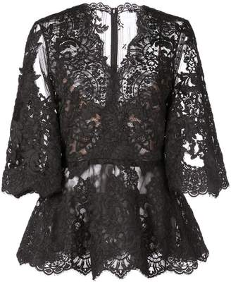 Marchesa lace see-through blouse