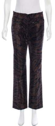 Collette Dinnigan Tiger Print Mid-Rise Pants