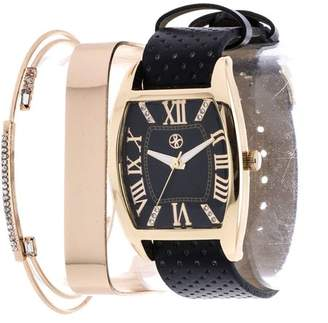 Fortune NYC Fortune Women's Four-Piece Tonneau Watch Set, Black PU Leather Strap