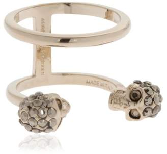 Alexander McQueen Gold Double Skulls Stacked Ring