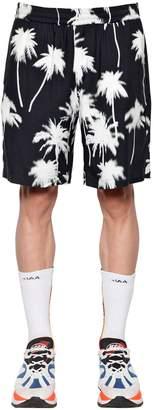 MSGM Palm Print Viscose Shorts