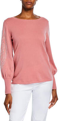 Neiman Marcus Cashmere Embellished Blouson-Sleeve Boat-Neck Sweater