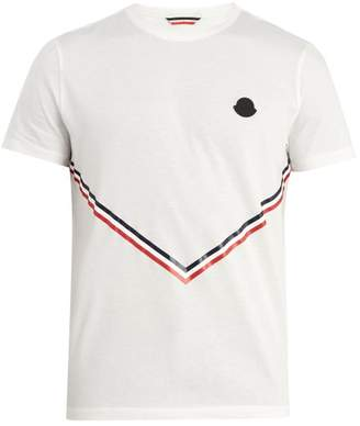 Moncler Stripe Print Cotton T Shirt - Mens - White