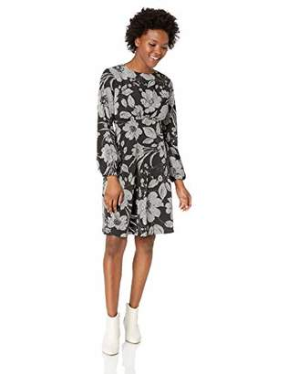 London Times Women's Petite Puff Sleeve Round Neck CDC FIT and Flare Dress