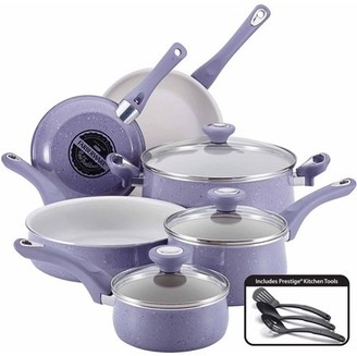 Farberware New Traditions Speckled Aluminum Nonstick 12-Piece Cookware Set, Lavender