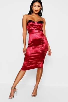 4e0967fd85 boohoo Satin Lace Trim Bustier Midi Dress