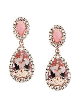 Bloomingdale's Morganite & Diamond Teardrop Earrings in 14K Rose Gold - 100% Exclusive
