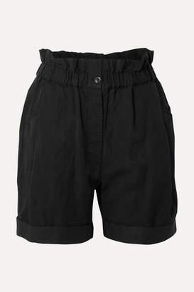 Frame Harem Lyocell, Linen And Cotton-blend Shorts - Black