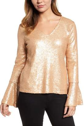 Halogen Flare Sleeve Sequin Top