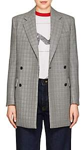 Calvin Klein Women's Glen Plaid Virgin Wool Double-Breasted Blazer - Blk, Wht