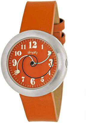 Simplify Unisex The 2700 Orange Leather-Band Watch SIM2704