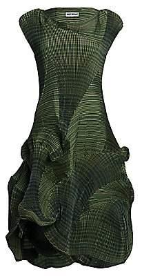 Issey Miyake Women's Corona Textured Pleated Cap-Sleeve Dress