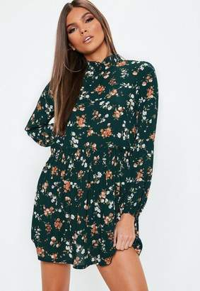 Missguided Petite Green High Neck Floral Mini Dress