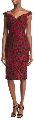 Jovani Off-the-Shoulder Embellished Floral Lace Cocktail Dress